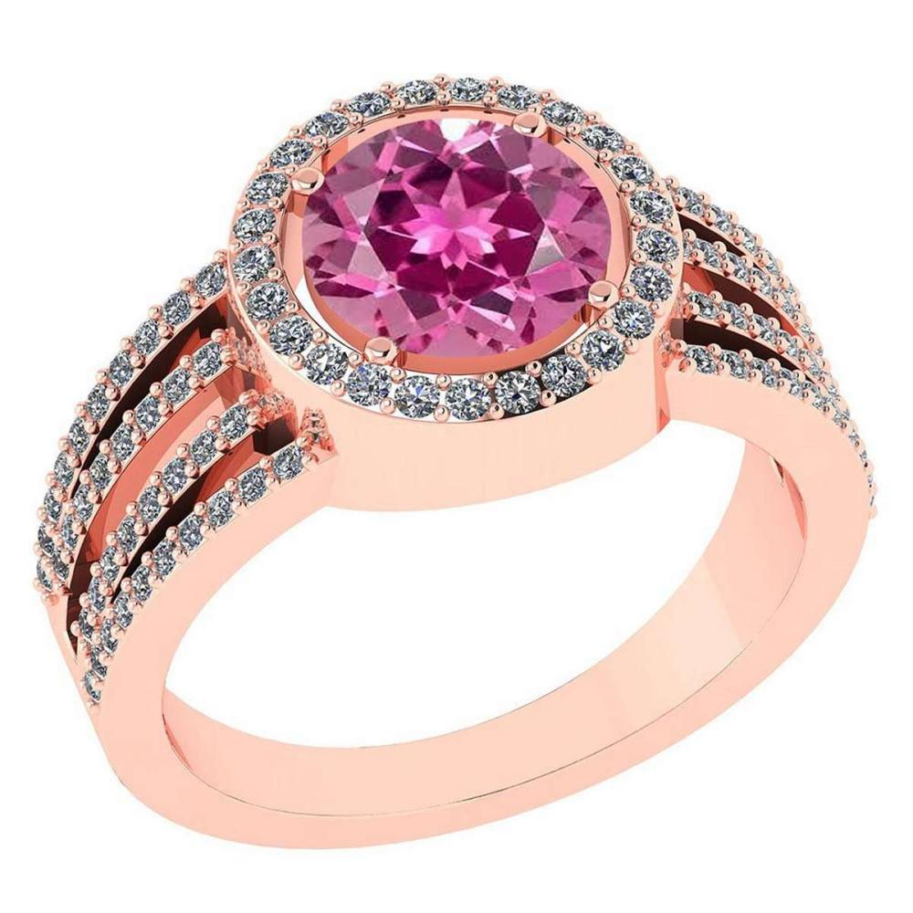 Certitifed 2.41 Ctw Pink Tourmaline And Diamond 14k Rose Gold Halo Ring #PAPPS96957