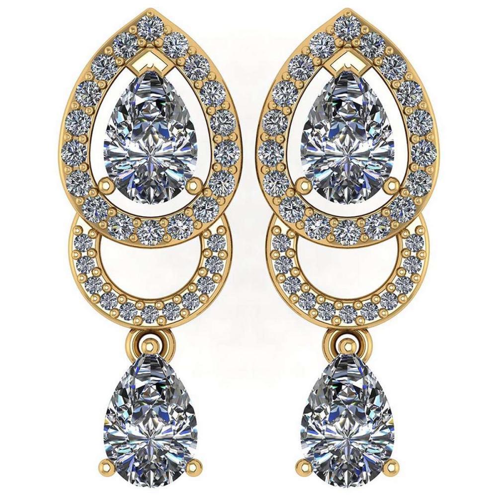 1.34 Ctw Diamond 14k Yellow Gold Halo Dangling Earrings #PAPPS96165