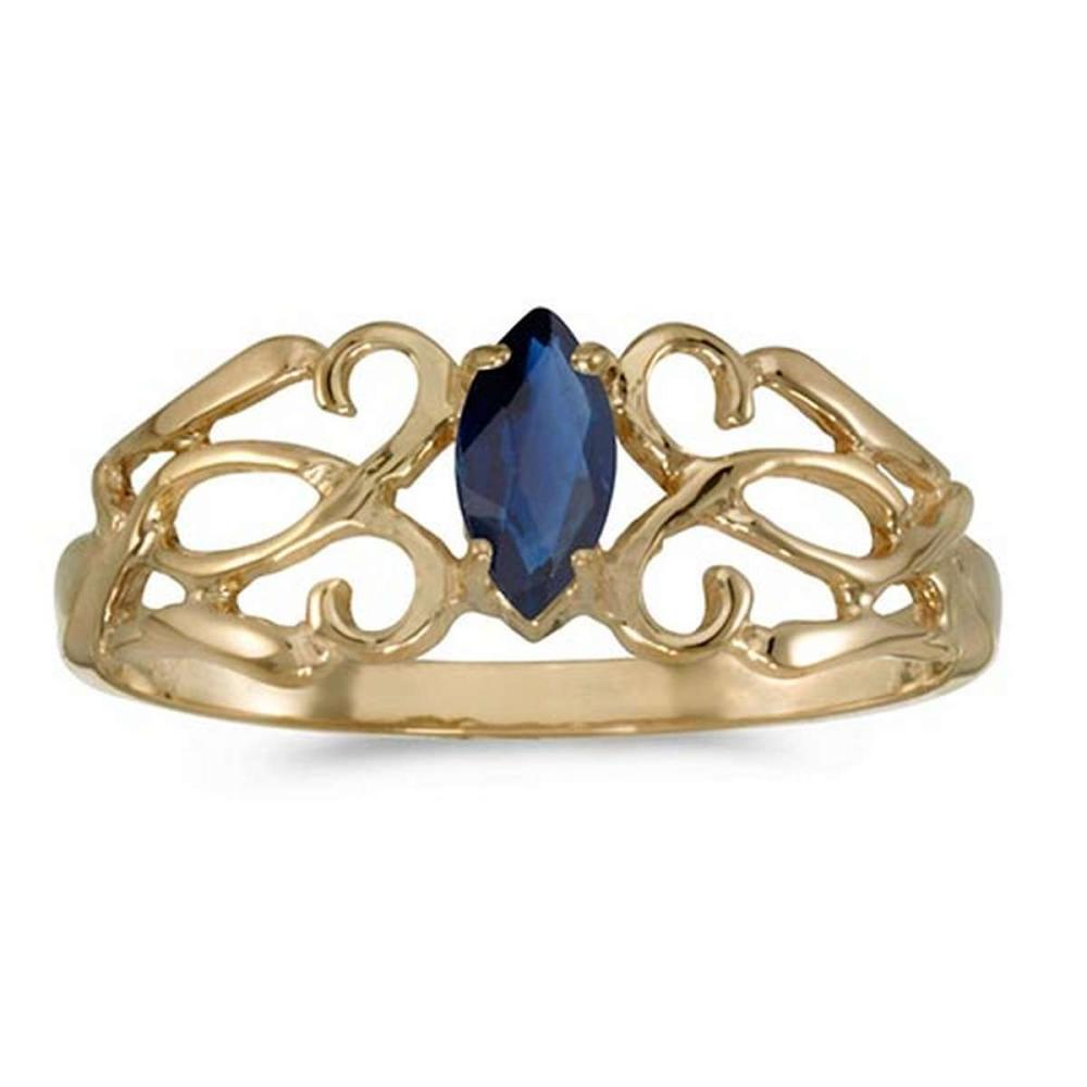 Certified 10k Yellow Gold Marquise Sapphire Filagree Ring #PAPPS50698