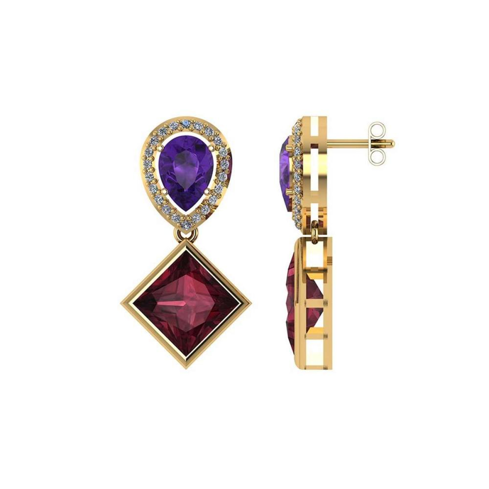 Certified 4.90 CTW Amethyst Garnet And Diamond 14K Yellow Gold Earring #PAPPS91991
