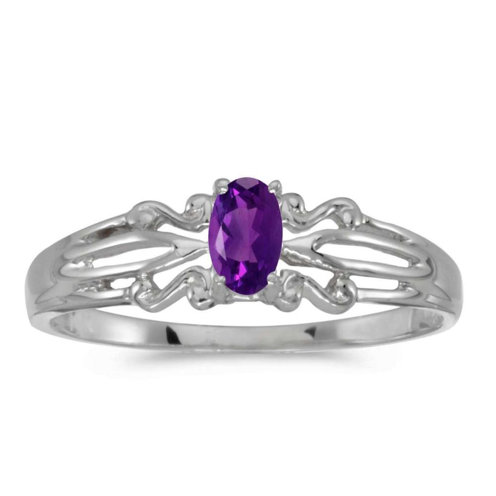 Certified 10k White Gold Oval Amethyst Ring 0.18 CTW #PAPPS25462