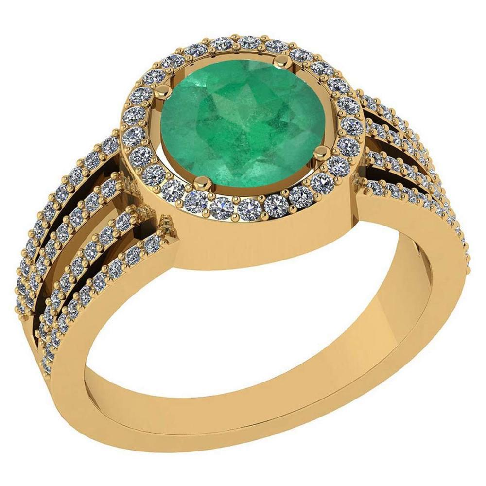 Certitifed 2.41 Ctw Emerald And Diamond 14k Yellow Gold Halo Ring #PAPPS96949