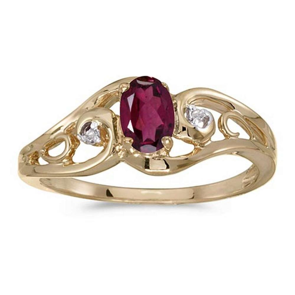 Certified 14k Yellow Gold Oval Rhodolite Garnet And Diamond Ring #PAPPS51199