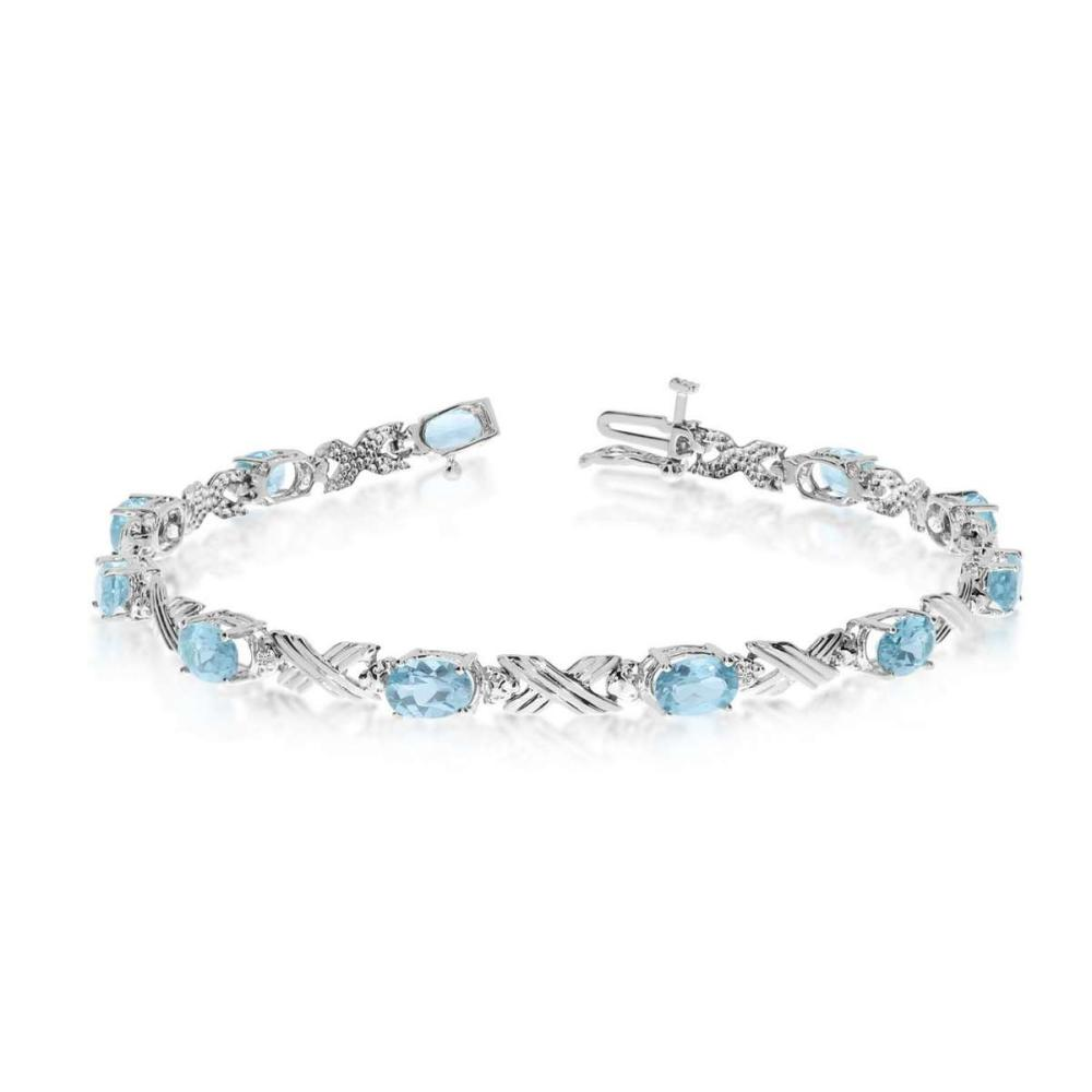 Certified 10K White Gold Oval Aquamarine and Diamond Bracelet 3.22 CTW #PAPPS25428