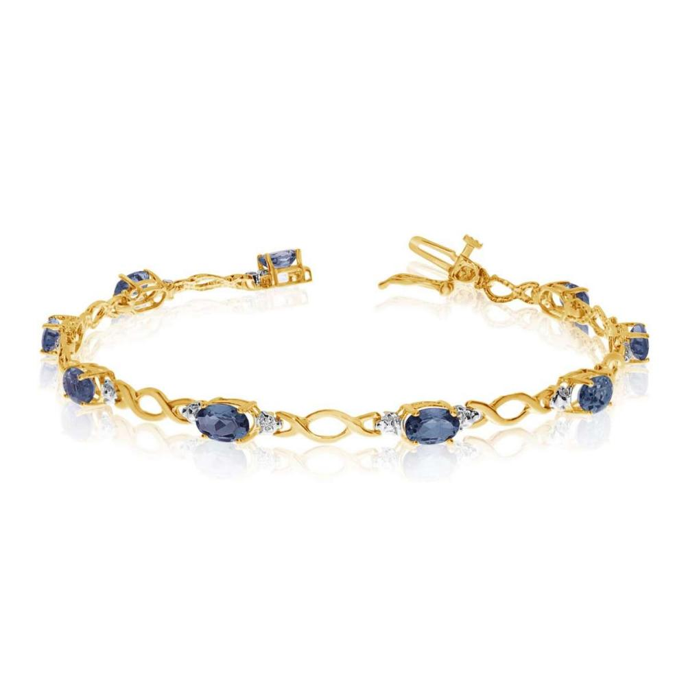 Certified 14K Yellow Gold Oval Sapphire and Diamond Bracelet 3.93 CTW #PAPPS25392