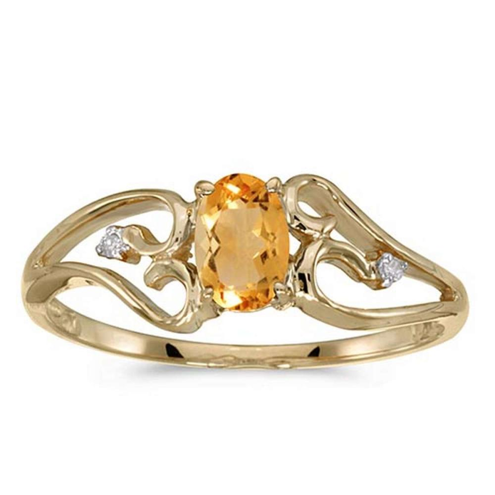 Certified 10k Yellow Gold Oval Citrine And Diamond Ring #PAPPS50723