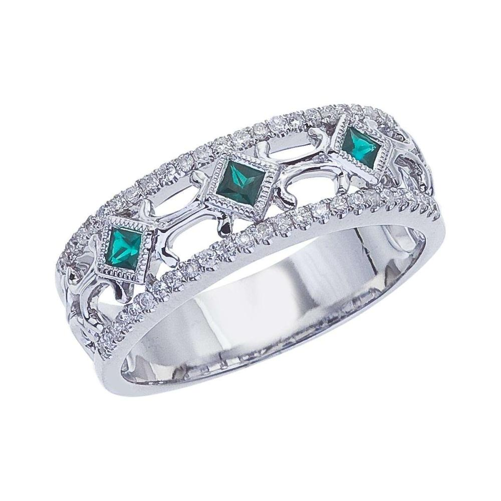 Certified 14k White Gold Emerald Diamond Open Band 0.43 CTW #PAPPS25418