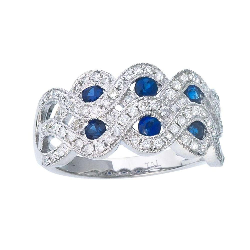 Certified 14k White Gold 2 Row Sapphire and Diamond Ring 0.91 CTW #PAPPS25410