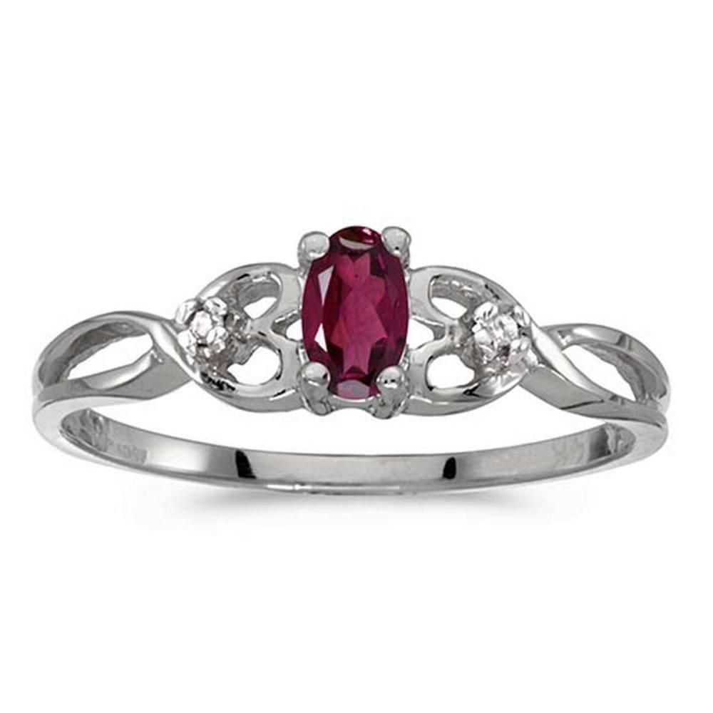Certified 14k White Gold Oval Rhodolite Garnet And Diamond Ring #PAPPS51346