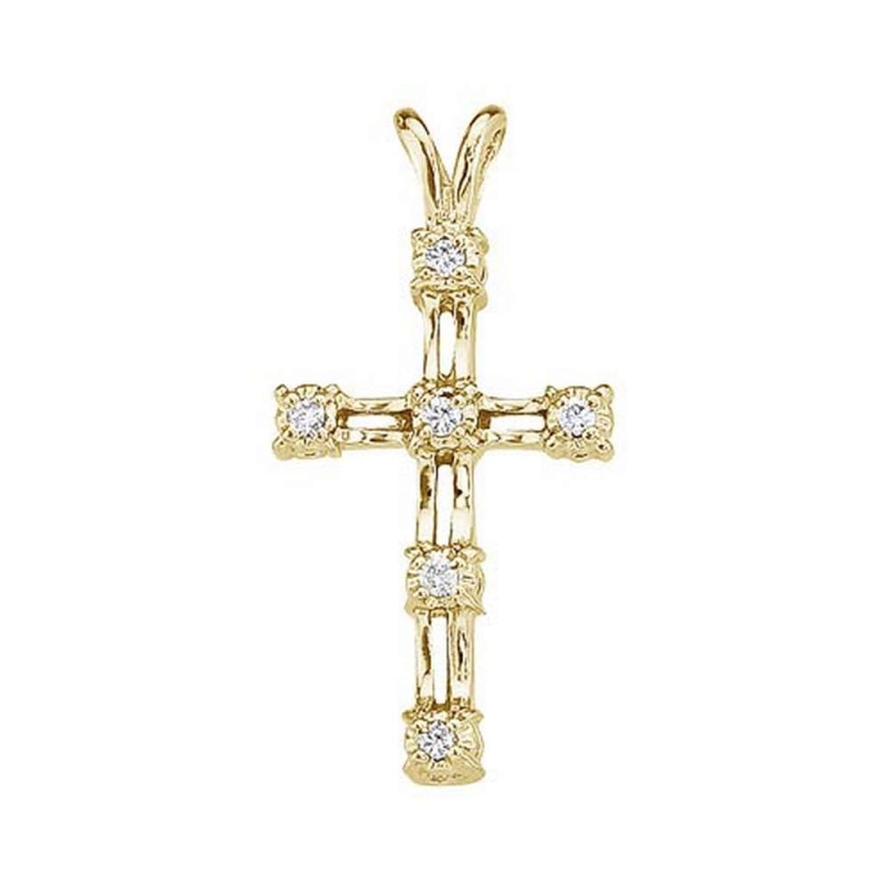 Certified 14K Yellow Gold Diamond Cross Pendant 0.03 CTW #PAPPS27446
