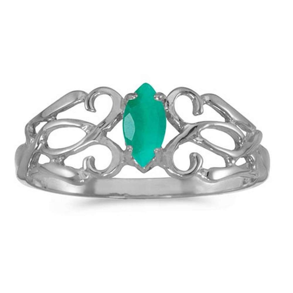 Certified 10k White Gold Marquise Emerald Filagree Ring #PAPPS50697