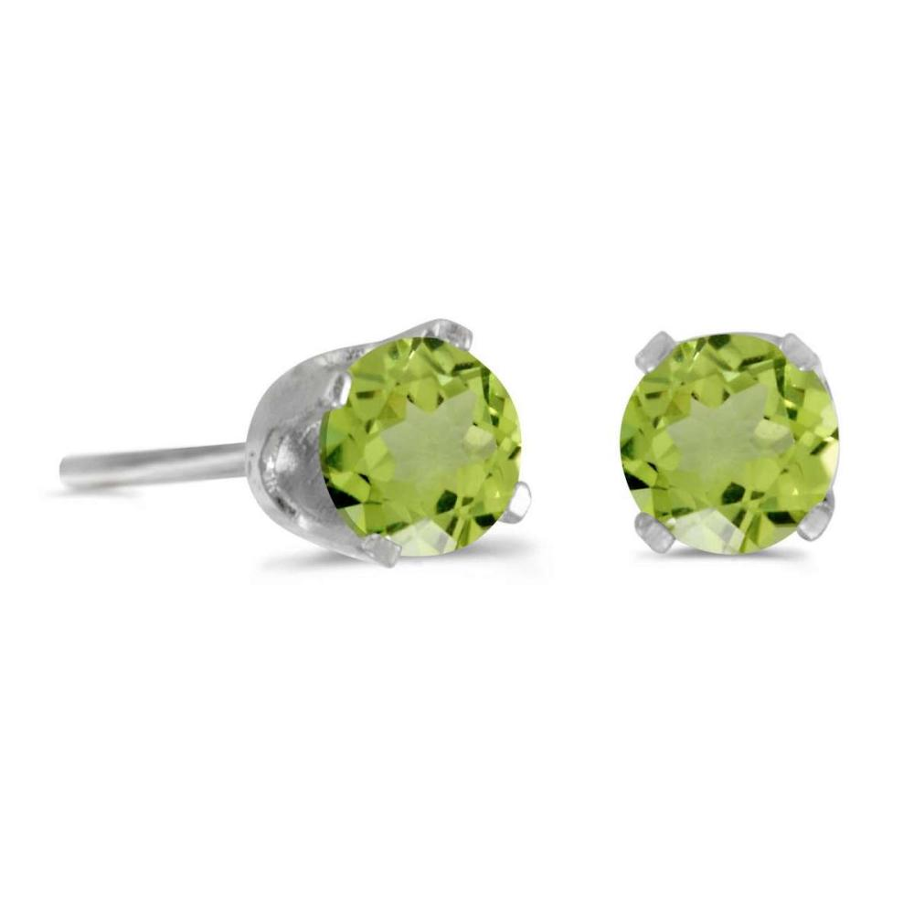 Certified 4 mm Round Peridot Stud Earrings in 14k White Gold 0.48 CTW #PAPPS24955