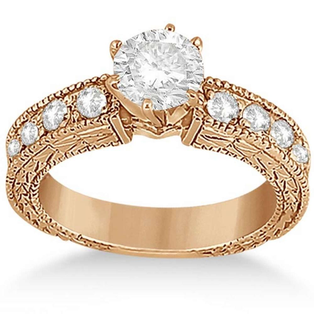 1.50 ctw Antique Style Diamond Engagement Ring 14k Rose Gold  #PAPPS20771
