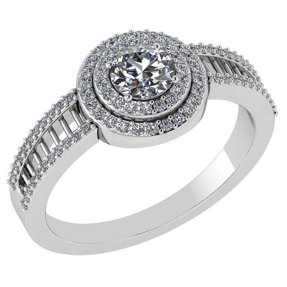 0.78 Ctw Diamond 14k White Gold Halo Ring VS/SI1 #PAPPS96931