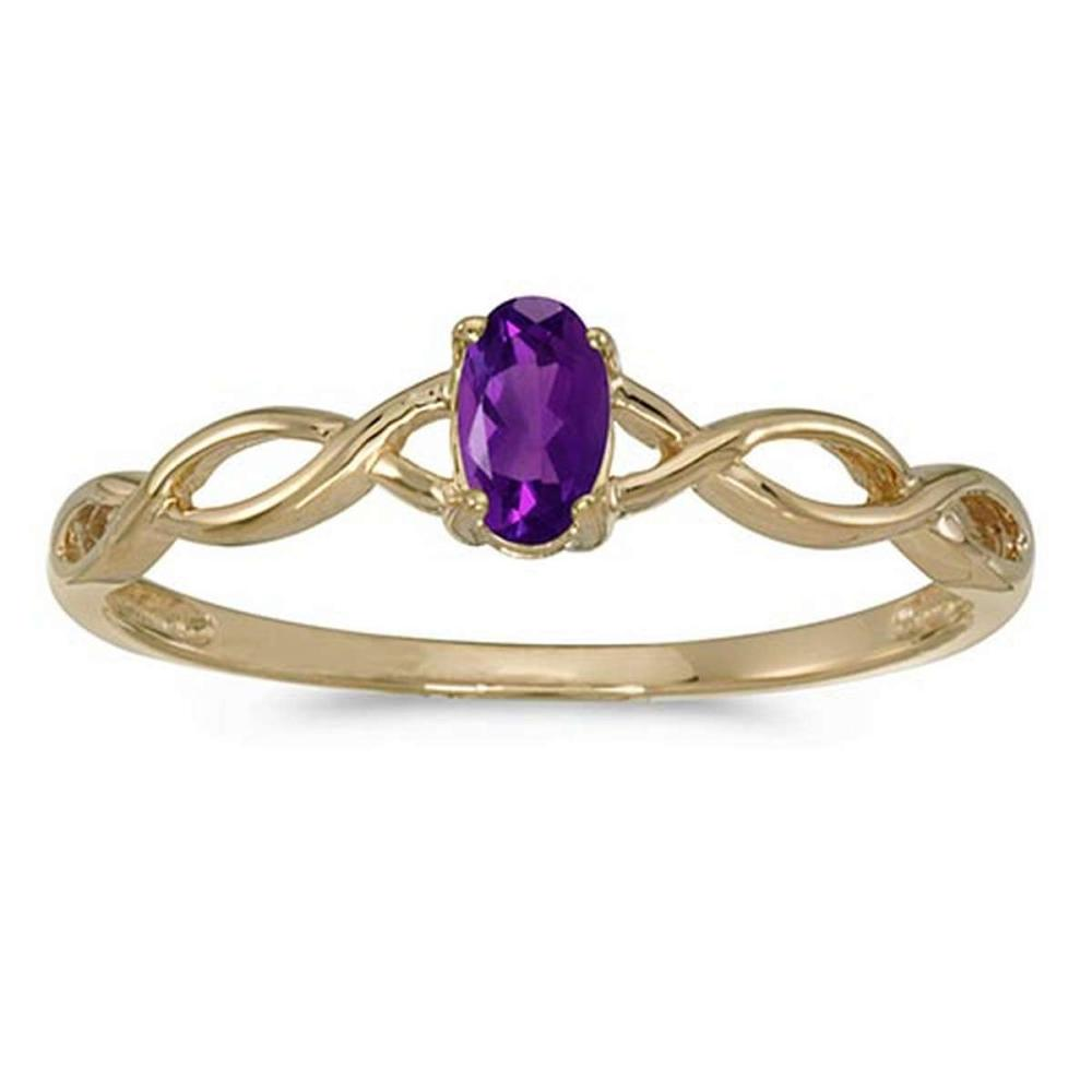 Certified 10k Yellow Gold Oval Amethyst Ring #PAPPS51329