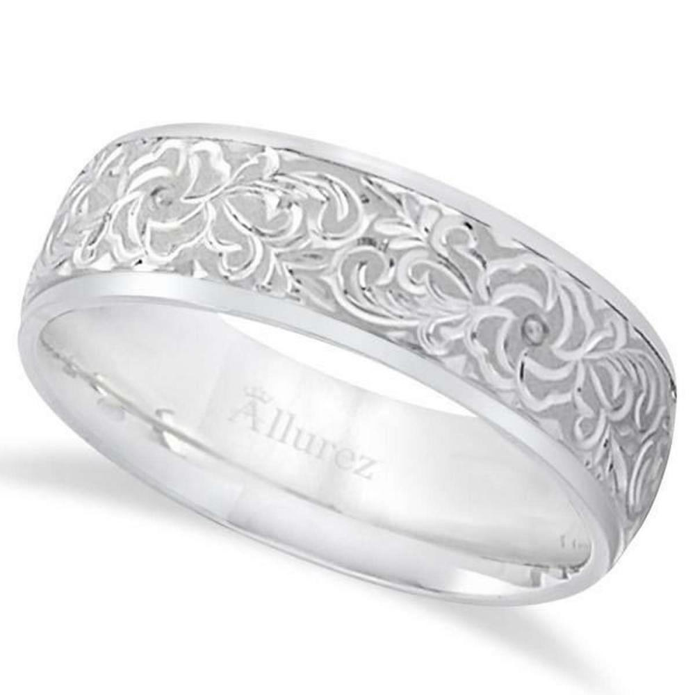 Hand-Engraved Flower Wedding Ring Wide Band Platinum (7mm) #PAPPS21284