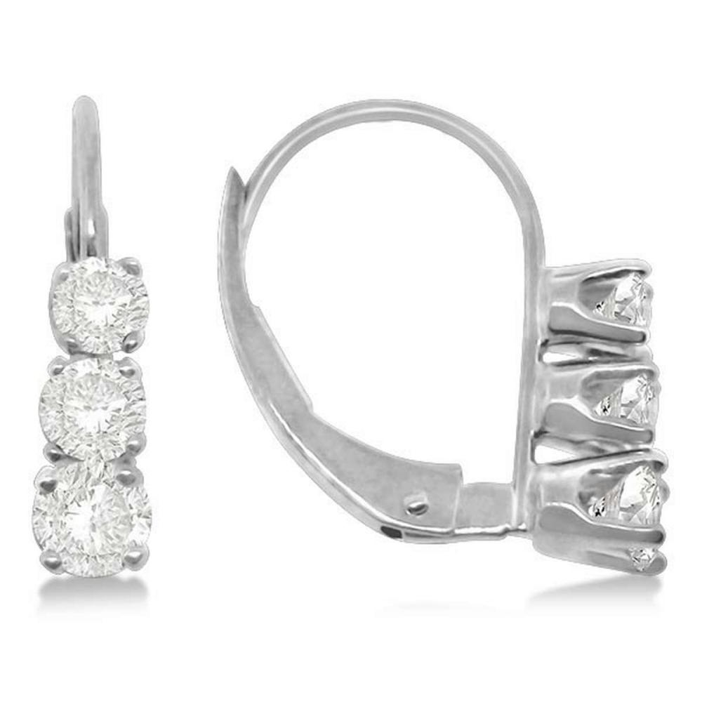 Three-Stone Leverback Diamond Earrings 14k White Gold (0.50ct) #PAPPS20729