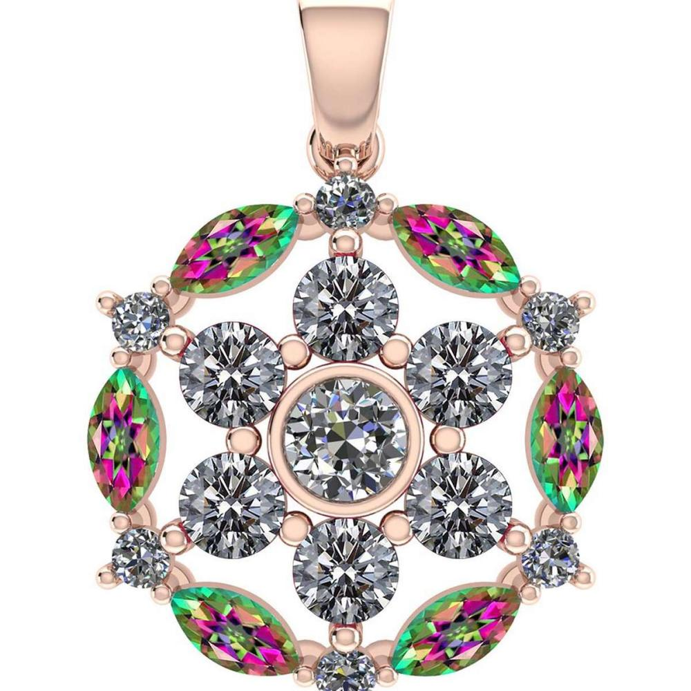 Certified 1.30 CTW Genuine Mystic Topaz And Diamond 14K Rose Gold Pendant #PAPPS91971