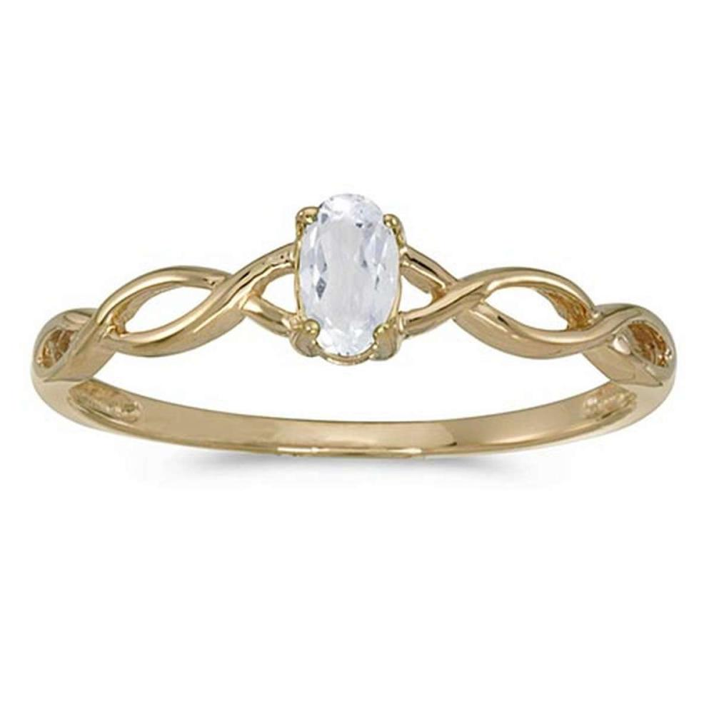 Certified 10k Yellow Gold Oval White Topaz Ring #PAPPS51317