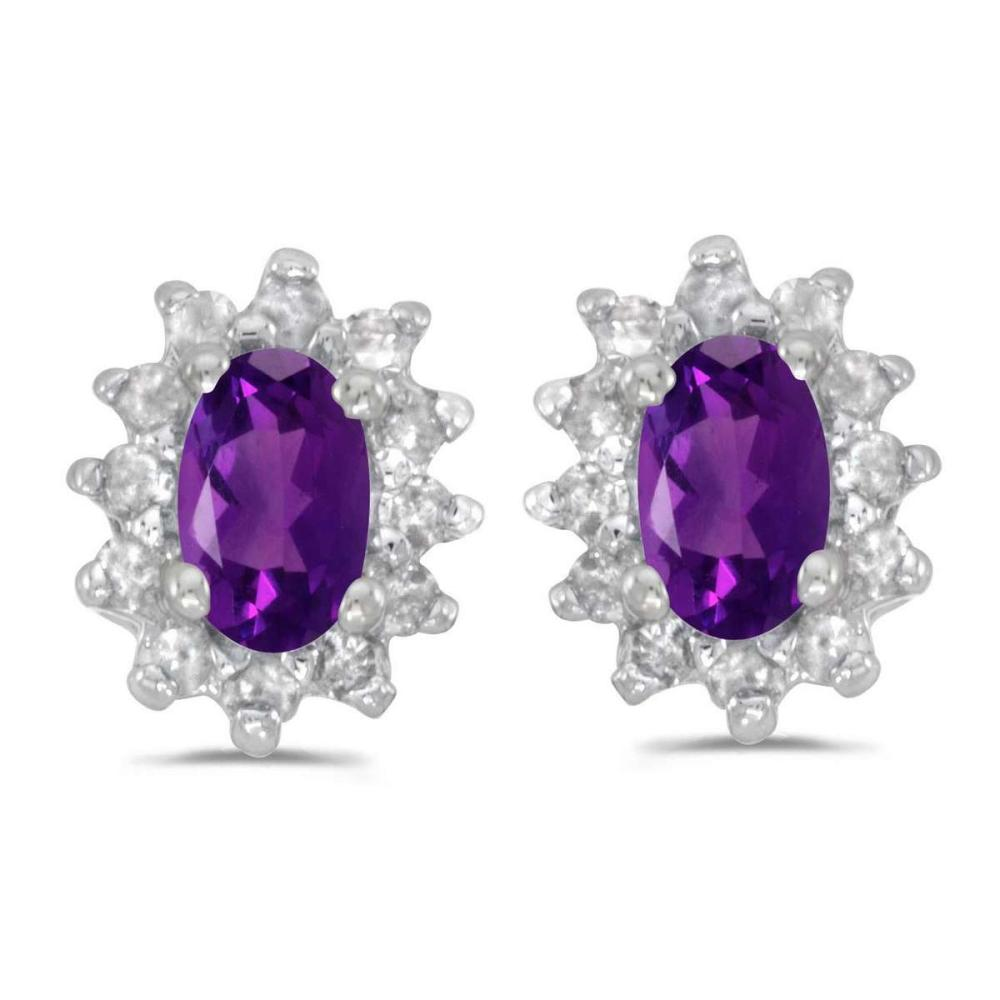 Certified 14k White Gold Oval Amethyst And Diamond Earrings 0.61 CTW #PAPPS24957