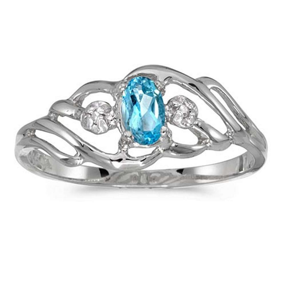 Certified 10k White Gold Oval Blue Topaz And Diamond Ring #PAPPS51222