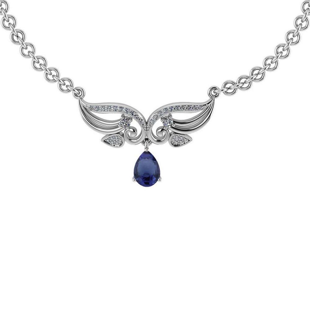Certified 3.94 Ctw Genuine Blue Sapphire And Diamond 14K White Gold Princess Necklace #PAPPS94614