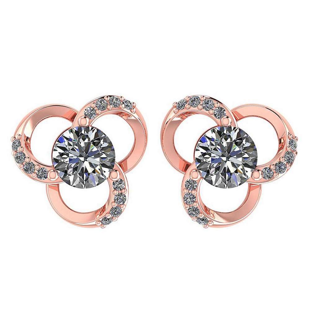 1.2Ctw Diamond 14k Rose Gold Halo Stud Earring #PAPPS96944