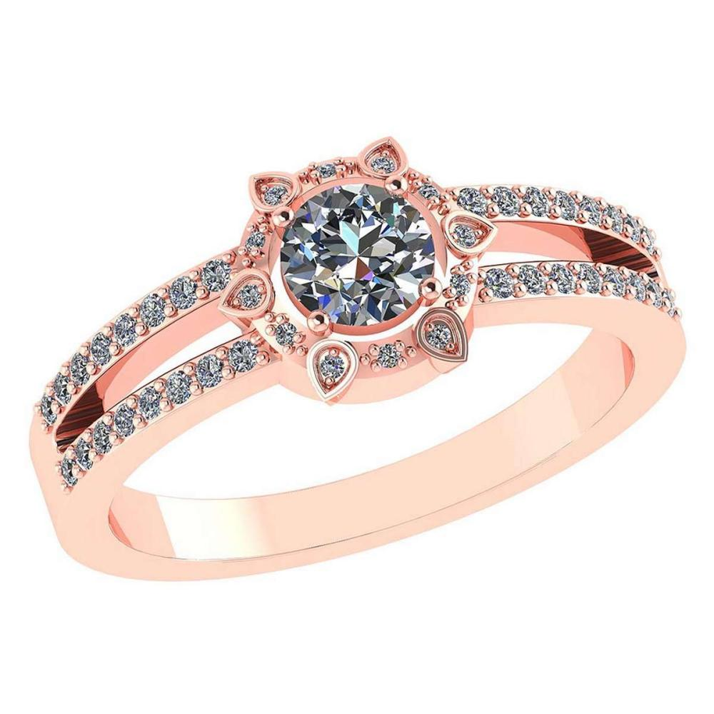 Certitifed 0.69 Ctw Diamond 14k Rose Gold Halo Ring #PAPPS97115