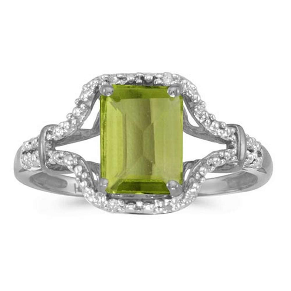 Certified 10k White Gold Emerald-cut Peridot And Diamond Ring #PAPPS51297
