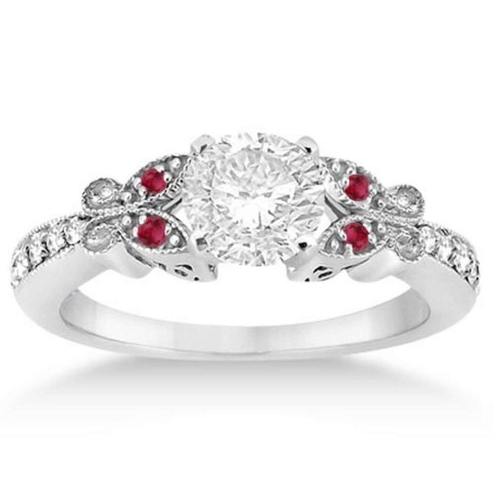 Butterfly Diamond and Ruby Engagement Ring 14k White Gold (0.60ct) #PAPPS20765
