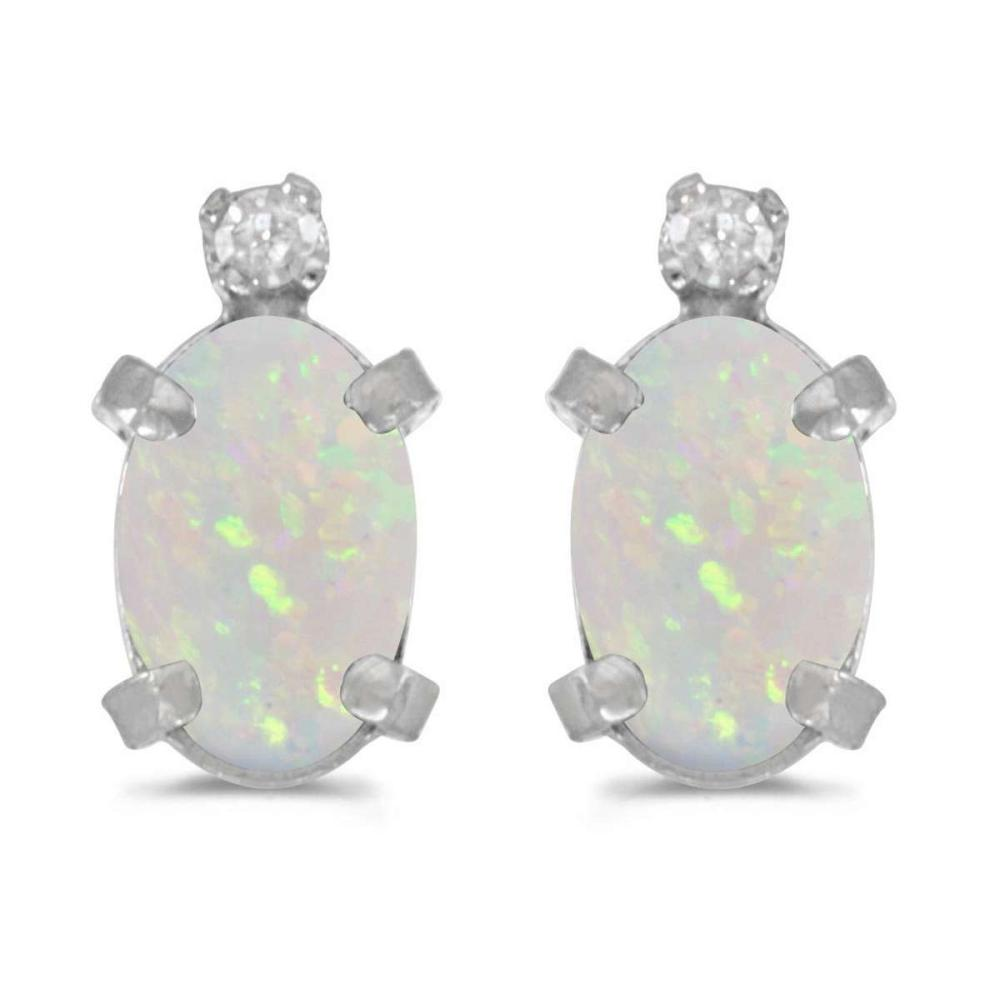 Certified 14k White Gold Oval Opal And Diamond Earrings 0.4 CTW #PAPPS27032