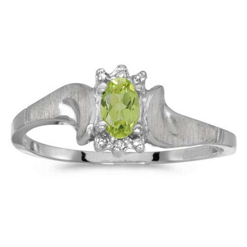 Certified 10k White Gold Oval Peridot And Diamond Satin Finish Ring #PAPPS50722