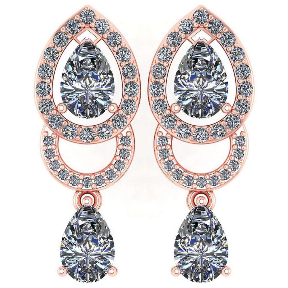 1.34 Ctw Diamond 14k Rose Gold Halo Dangling Earrings #PAPPS96166