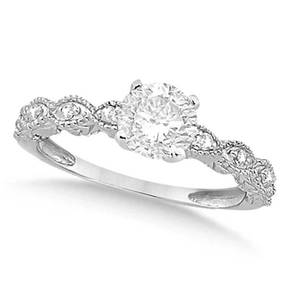 Petite Antique-Design Diamond Engagement Ring 14k White Gold (1.00ct) #PAPPS20830