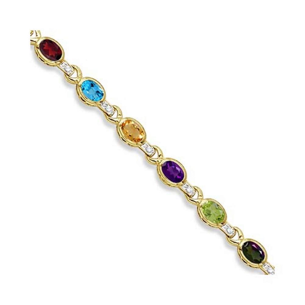 Diamond and Multicolor Gemstone Bracelet 14k Yellow Gold (9.62ctw) #PAPPS20812