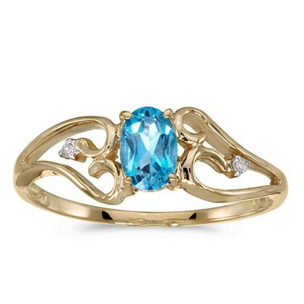 Certified 10k Yellow Gold Oval Blue Topaz And Diamond Ring #PAPPS50719