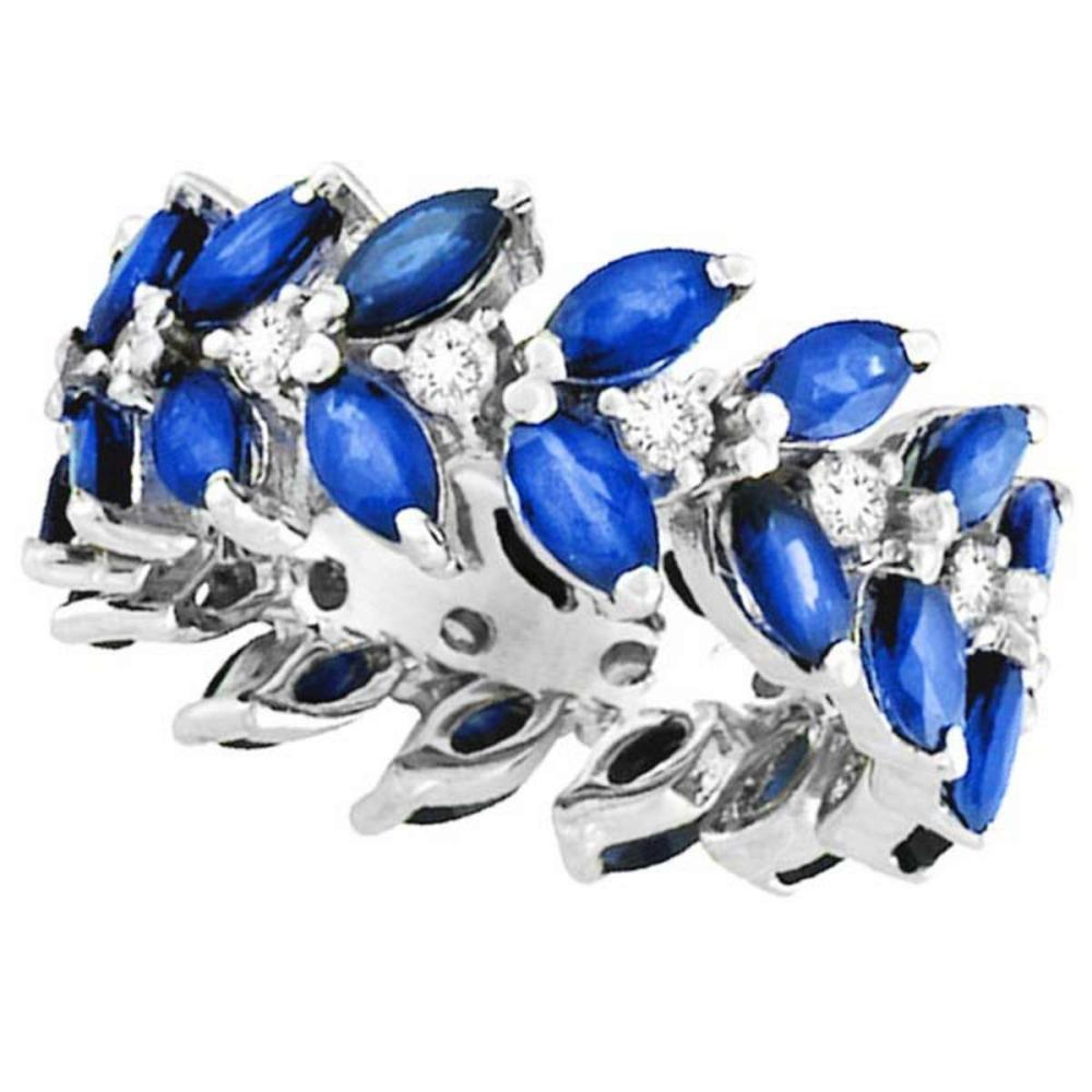 Marquise Sapphire and Diamond Eternity Ring 14k White Gold (5.03ct) #PAPPS20722