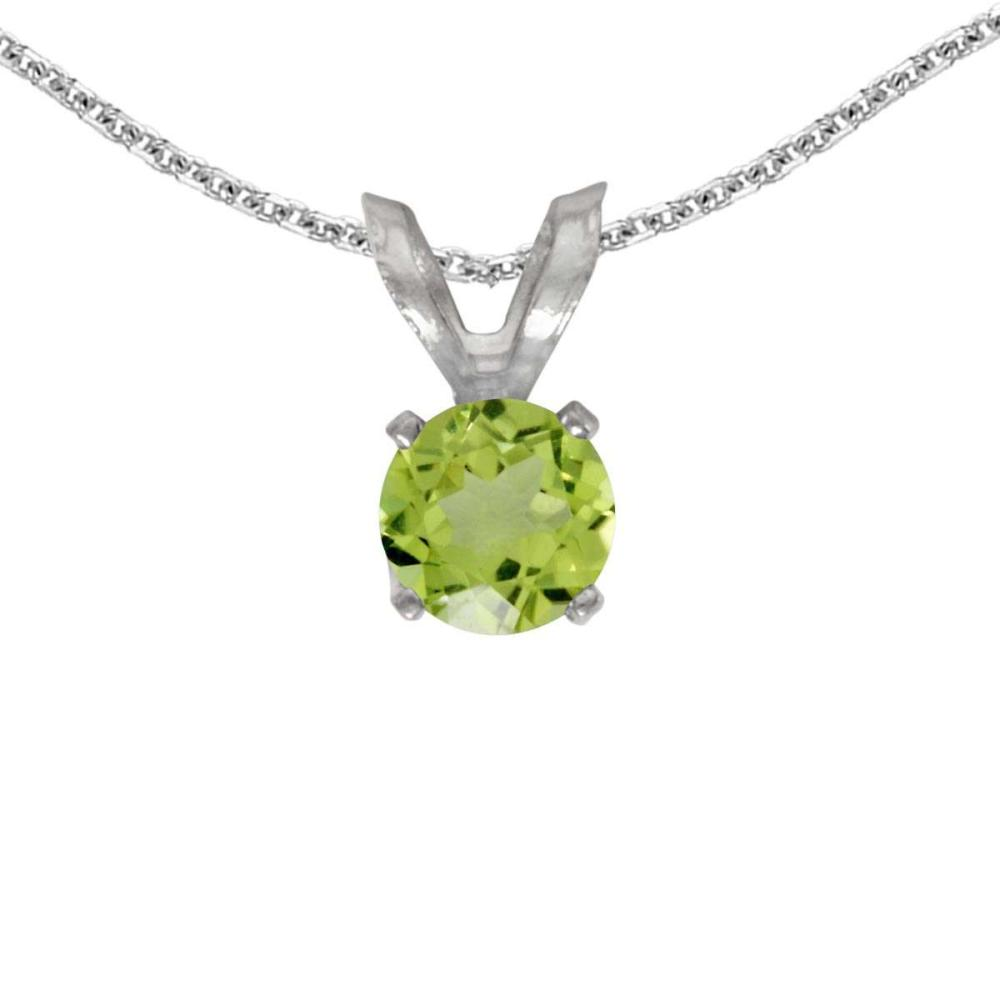Certified 14k White Gold Round Peridot Pendant 0.24 CTW #PAPPS27678