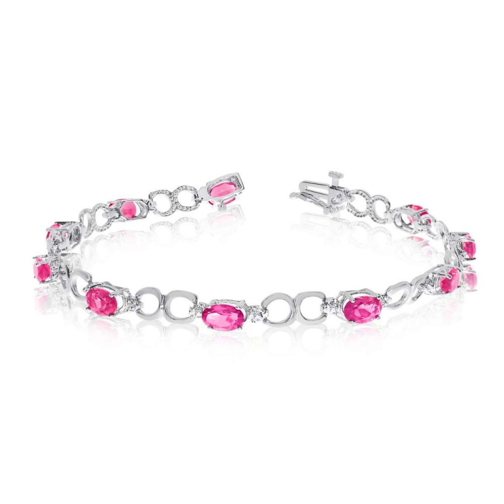 Certified 10K White Gold Oval Pink Topaz and Diamond Bracelet 4.33 CTW #PAPPS25453