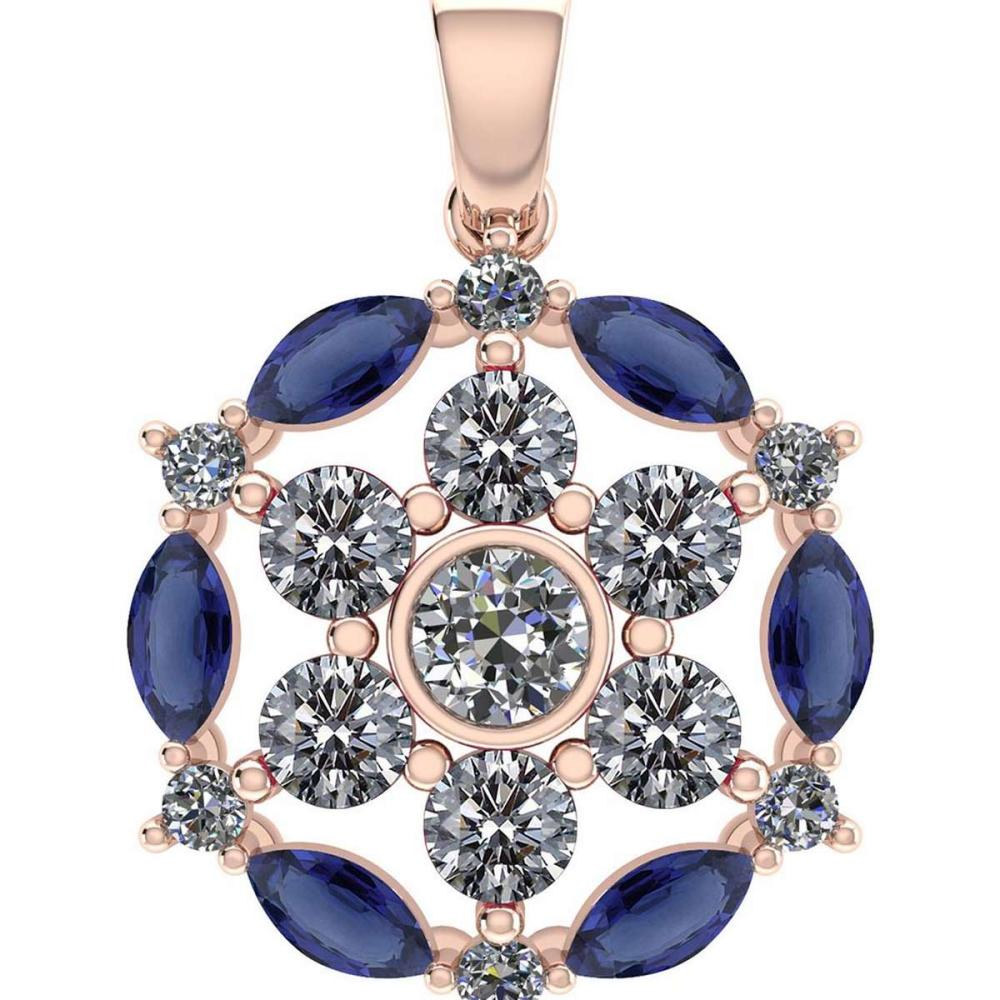 Certified 1.30CTW Genuine Blue Sapphire And Diamond 14K Rose Gold Pendant #PAPPS91965