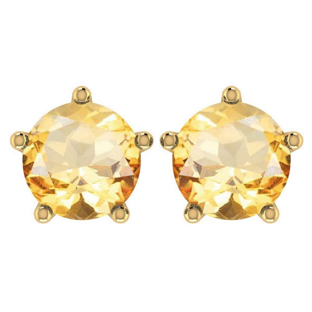 Certitifed 1.60 Ctw Genuine Citrine 14K Yellow Gold Stud Earrings #PAPPS97053