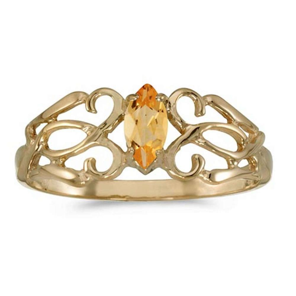 Certified 10k Yellow Gold Marquise Citrine Filagree Ring #PAPPS50686