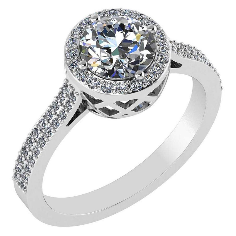 1.77 Ctw Diamond 14k Yellow Gold Halo Ring VS/SI1 #PAPPS96261