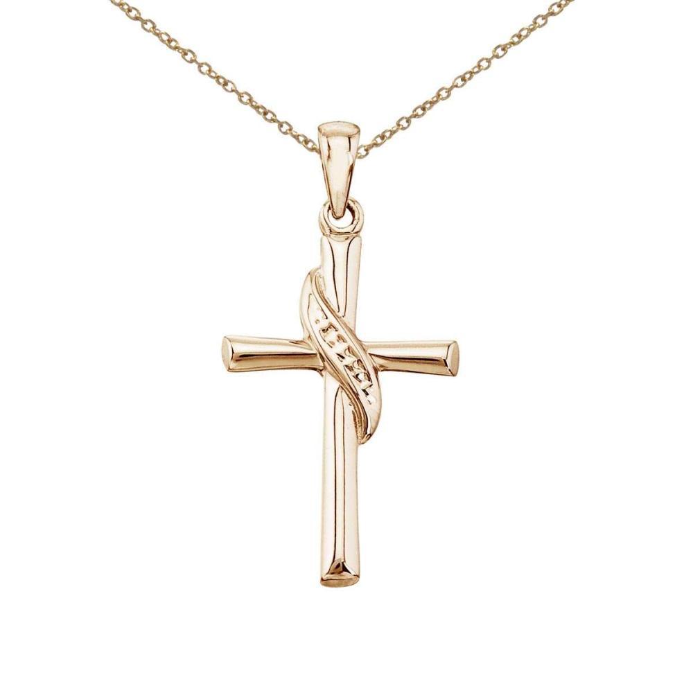 Certified 14K Yellow Gold Swirl Cross Pendant #PAPPS27508