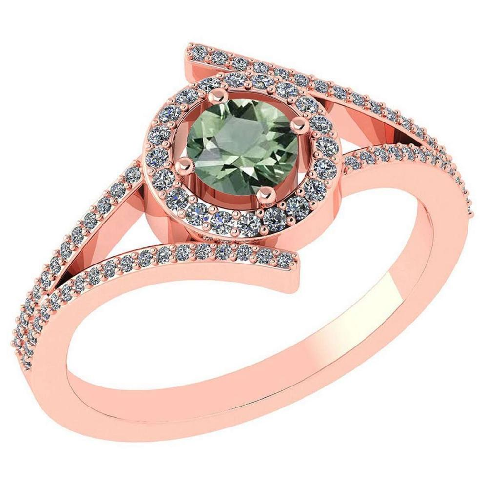0.73 Ctw Green Amethyst And Diamond 14k Rose Gold Halo Ring #PAPPS96269