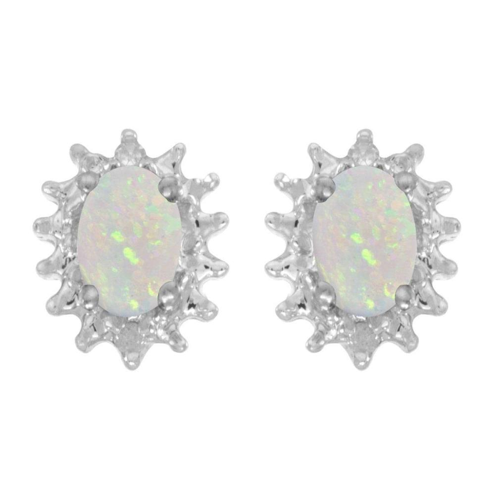 Certified 14k White Gold Oval Opal And Diamond Earrings 0.42 CTW #PAPPS24968