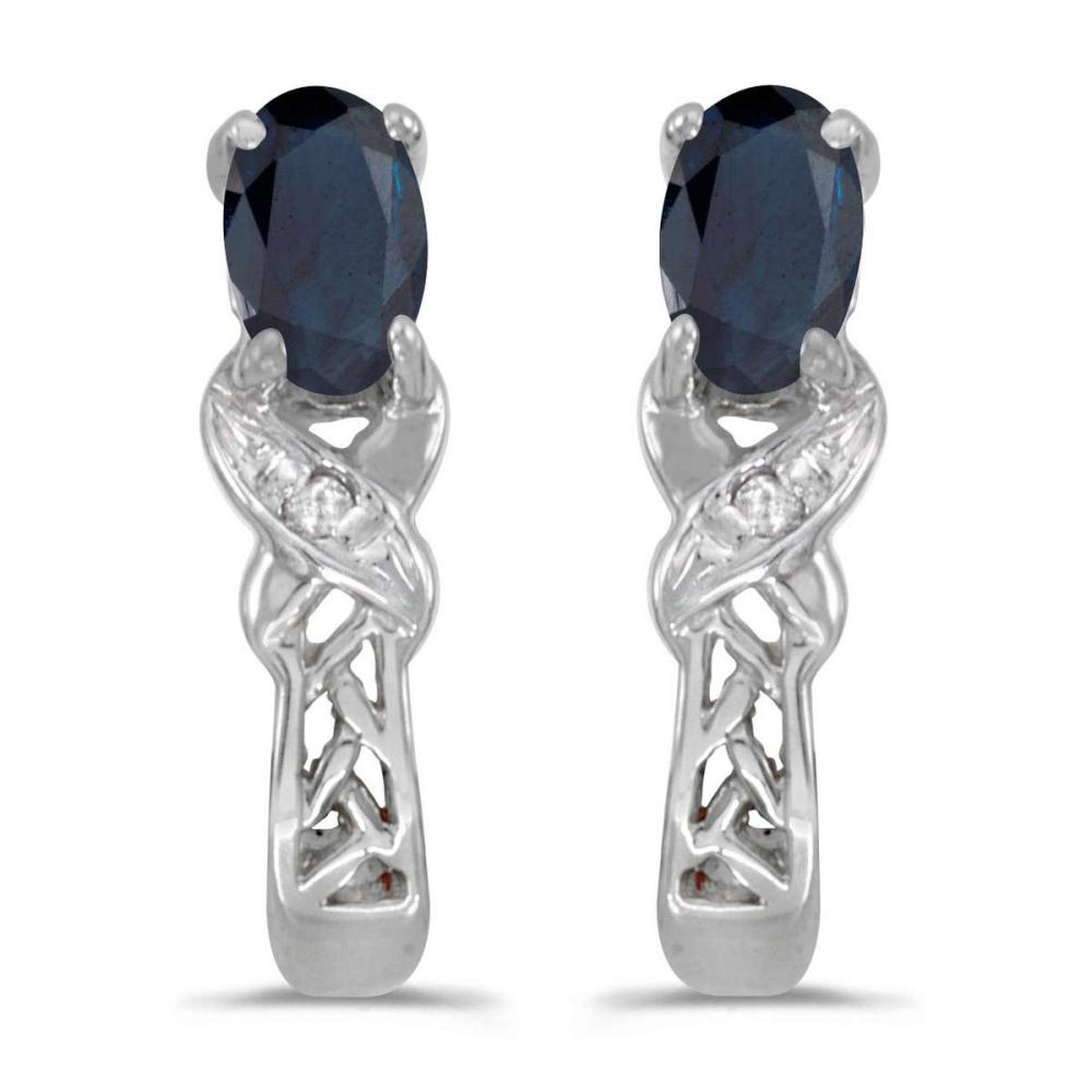 Certified 14k White Gold Oval Sapphire And Diamond Earrings 0.51 CTW #PAPPS27098