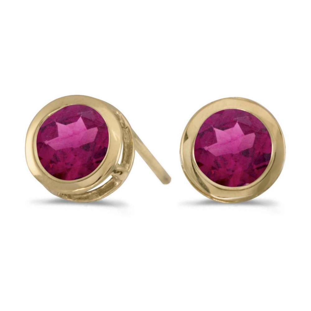 Certified 14k Yellow Gold Round Rhodolite Garnet Bezel Stud Earrings 0.84 CTW #PAPPS27298