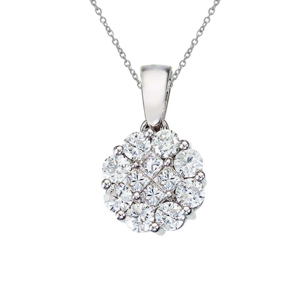 Certified 14K White Gold 1 ct Diamond Clustaire Pendant 1 CTW #PAPPS27506