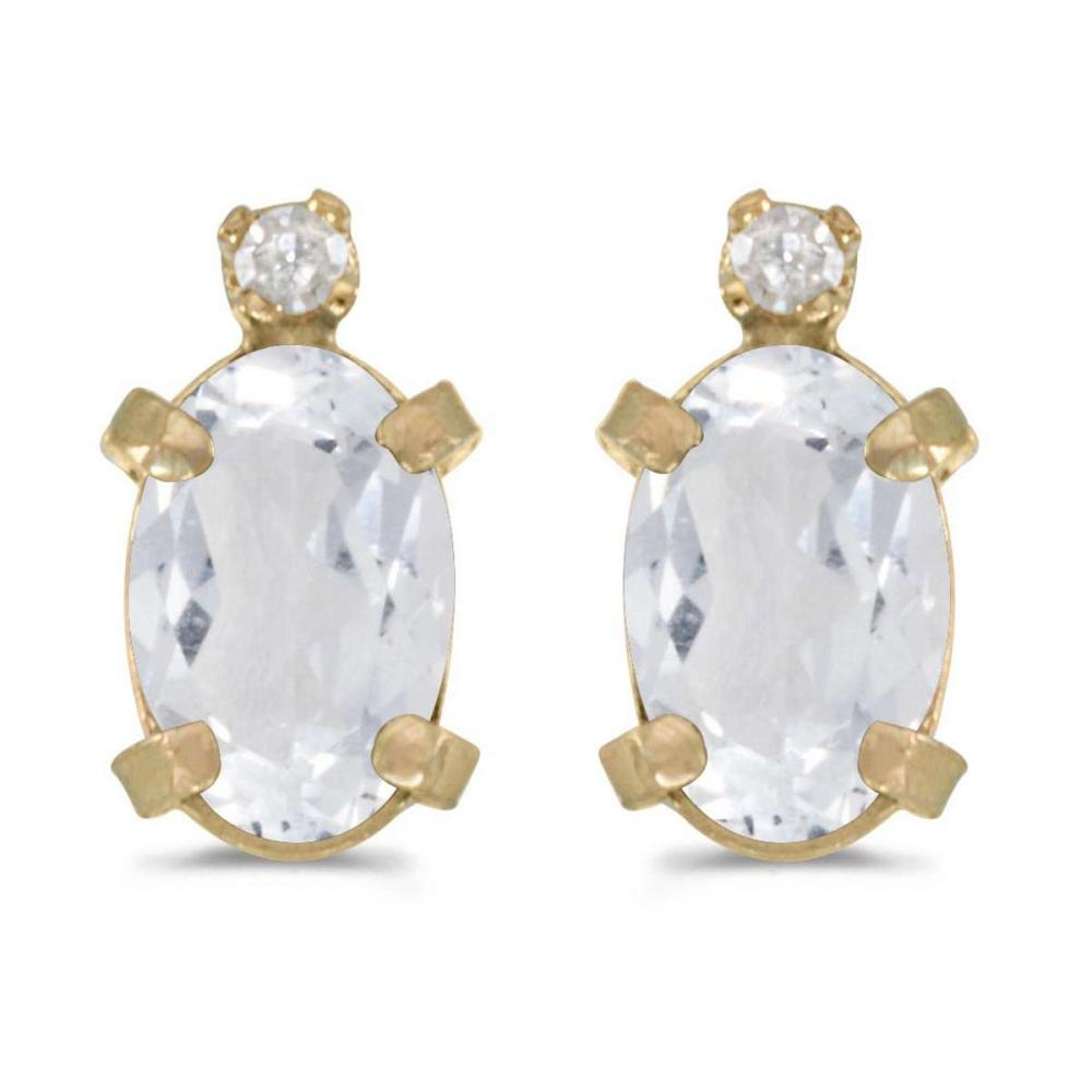 Certified 14k Yellow Gold Oval White Topaz And Diamond Earrings 0.98 CTW #PAPPS24949